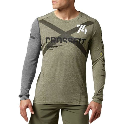 Mens Reebok CrossFit Tri-Blend Graphic Long Sleeve No Zip Technical Tops - Olive L