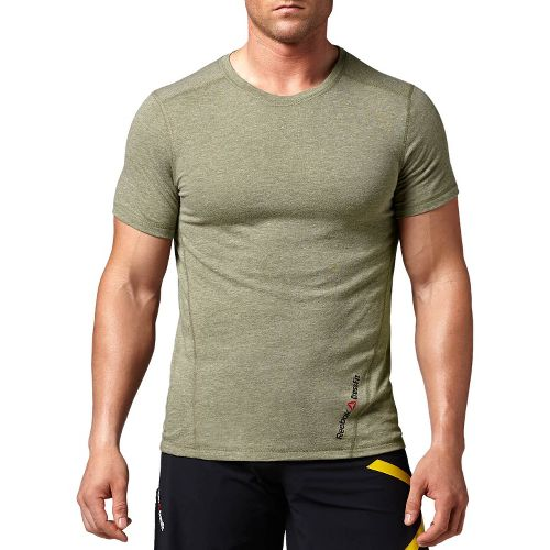 Mens Reebok CrossFit Tri-Blend Solid Short Sleeve Technical Tops - Olive M