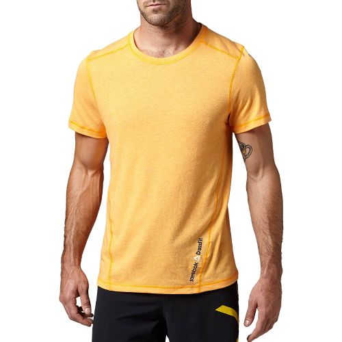 Mens Reebok CrossFit Tri-Blend Solid Short Sleeve Technical Tops - Orange M