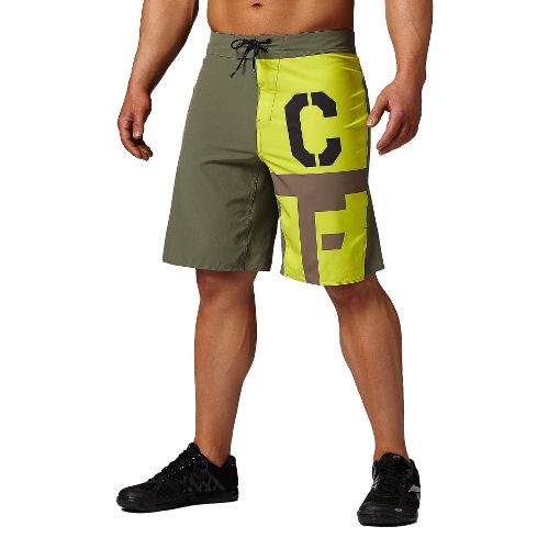 Mens Reebok CrossFit Bonded Gusset Graphic Unlined Shorts - Olive 36