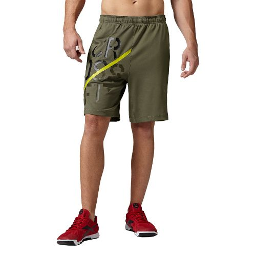 Mens Reebok CrossFit Knit Speedwick Unlined Shorts - Olive L
