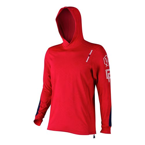 Mens Reebok CrossFit Pullover Hoody Long Sleeve No Zip Technical Tops - Basic Red M ...