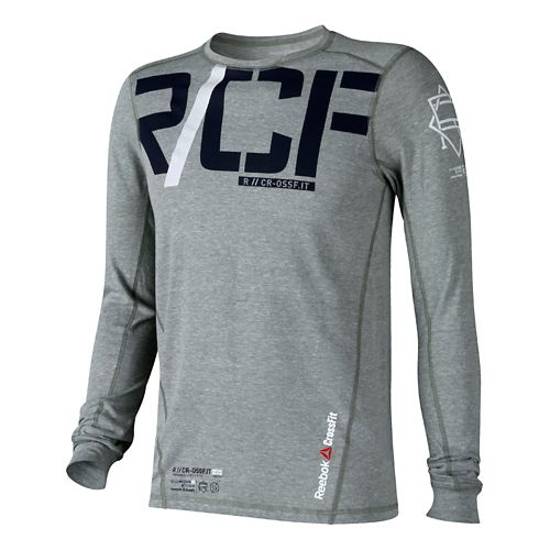 Mens Reebok CrossFit Tri-Blend Graphic Long Sleeve No Zip Technical Tops - Light Green M ...