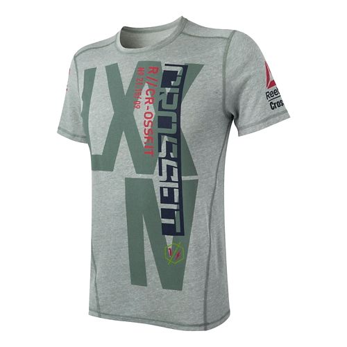 Mens Reebok CrossFit Tri-Blend Graphic Short Sleeve Technical Tops - Light Green XXL