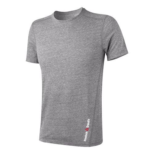 Mens Reebok CrossFit Tri-Blend Solid Short Sleeve Technical Tops - Black/Smooth XL