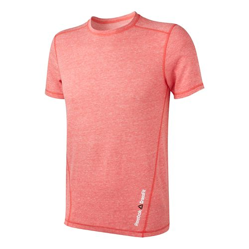 Mens Reebok CrossFit Tri-Blend Solid Short Sleeve Technical Tops - Basic Red M
