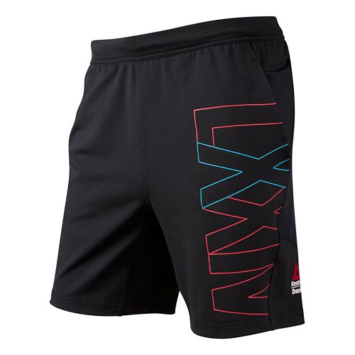 Mens Reebok CrossFit Graphic Knit Unlined Shorts - Black/Smooth L