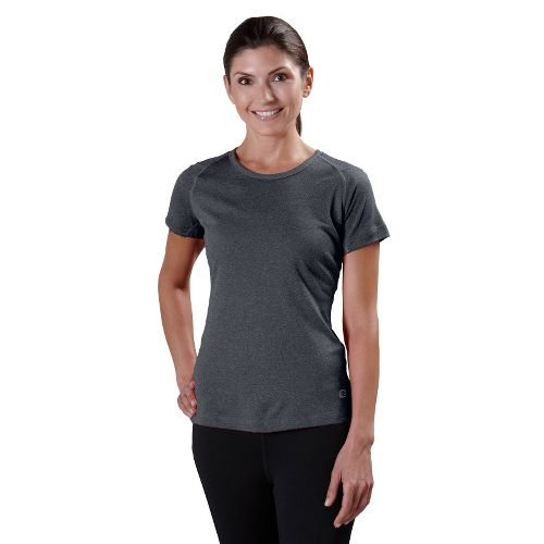 Womens Road Runner Sports Run, Walk, Play Crew Short Sleeve Technical Tops - Heather Charcoal ...