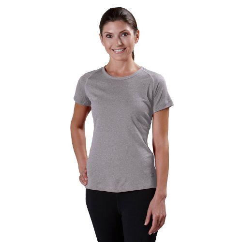 Womens Road Runner Sports Run, Walk, Play Crew Short Sleeve Technical Tops - Heather Grey ...