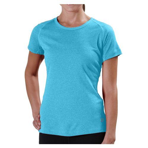 Womens Road Runner Sports Run, Walk, Play Crew Short Sleeve Technical Tops - Heather Surf ...