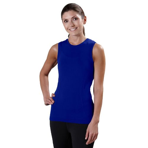Womens Road Runner Sports Feel Great Seamless Sleeveless Technical Tops - Pacific Blue S