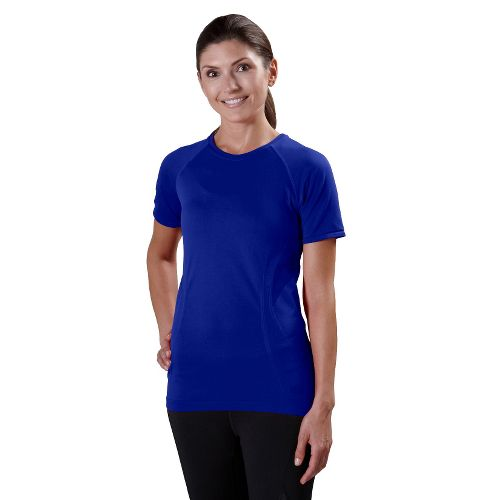 Womens Road Runner Sports Feel Great Seamless Short Sleeve Technical Tops - Pacific Blue L ...