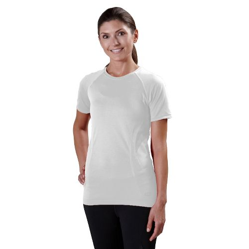 Womens Road Runner Sports Feel Great Seamless Short Sleeve Technical Tops - White L