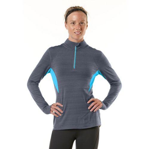 Womens R-Gear On the Run Long Sleeve 1/2 Zip Technical Tops - Charcoal/Sea Glass Blue ...