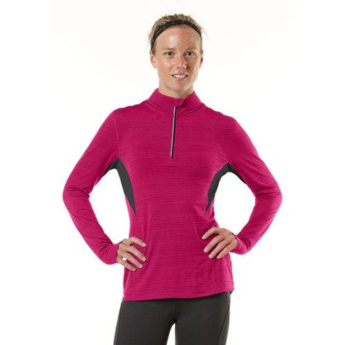 Womens R-Gear On the Run Long Sleeve 1/2 Zip Technical Tops - Haute Pink/Charcoal M ...
