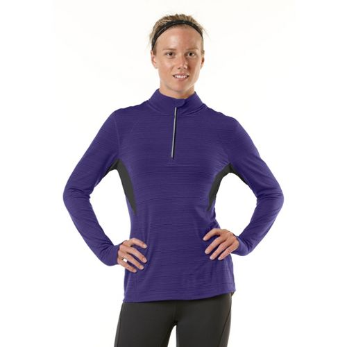 Womens R-Gear On the Run Long Sleeve 1/2 Zip Technical Tops - Plum Pop/Charcoal XL ...