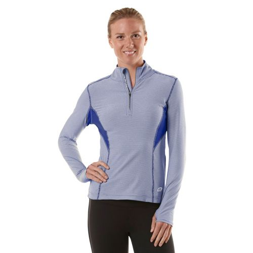 Womens R-Gear On the Run Stripe Long Sleeve 1/2 Zip Technical Tops - Bright Iris/Stripe/Bright ...