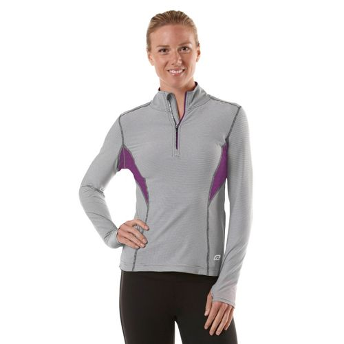 Womens R-Gear On the Run Stripe Long Sleeve 1/2 Zip Technical Tops - Charcoal/Stripe/Purple ...