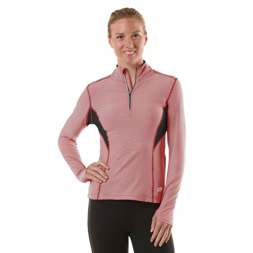 Womens R-Gear On the Run Stripe Long Sleeve 1/2 Zip Technical Tops - Firefly ...
