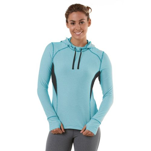 Womens R-Gear On The Run Stripe Hoodie Long Sleeve No Zip Technical Tops - Sea ...