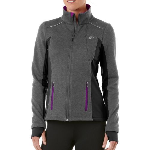 Womens R-Gear Dry-Run Soft Shell Outerwear Jackets - Heather Charcoal/Purple Shock M
