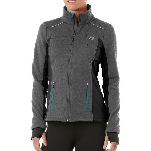 Womens R-Gear Dry-Run Soft Shell Outerwear Jackets - Heather Charcoal/Teal Appeal L