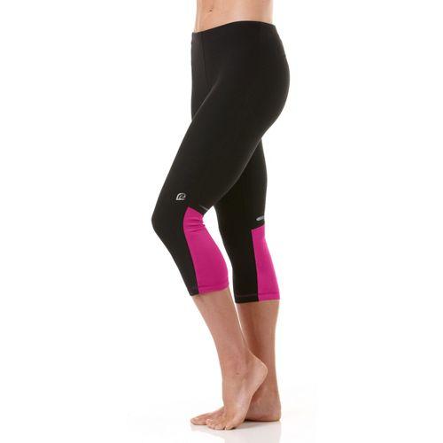 Womens R-Gear Night Watch Capri Tights - Black/Pulse Pink XS