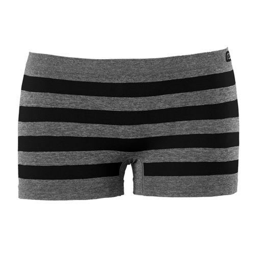 Womens R-Gear Undercover Seamless Stripe Boy Short Underwear Bottoms - Heather Grey/Black/Stripe L