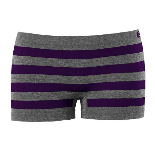 Womens R-Gear Undercover Seamless Stripe Boy Short Underwear Bottoms - Heather Grey/Plum ...