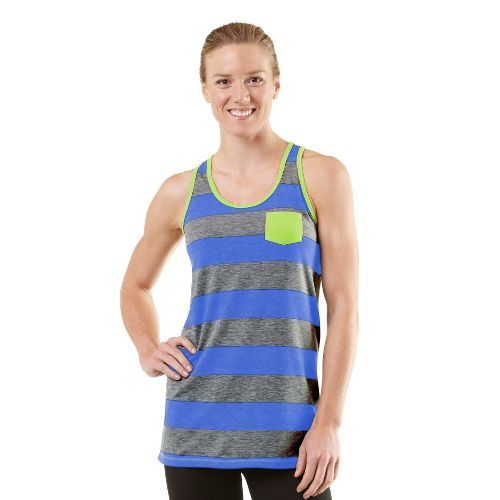 Womens ROAD RUNNER SPORTS Stripe A Pose Tank Technical Tops - Heather Charcoal/Lilac Bloom S ...