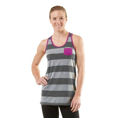 Womens ROAD RUNNER SPORTS Stripe A Pose Tank Technical Tops - Heather Grey/Heather ...