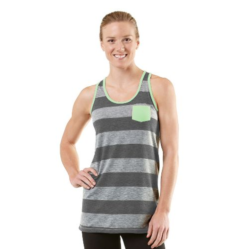 Womens ROAD RUNNER SPORTS Stripe A Pose Tank Technical Tops - Heather Grey/Mintify XL