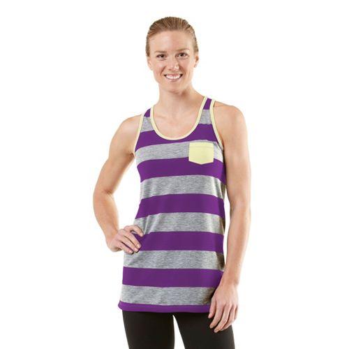Womens ROAD RUNNER SPORTS Stripe A Pose Tank Technical Tops - Heather Grey/Plum Crazy/Citron M ...