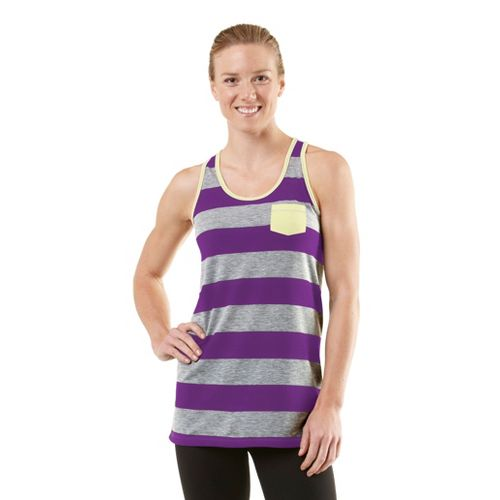 Womens ROAD RUNNER SPORTS Stripe A Pose Tank Technical Tops - Heather Grey/Plum Crazy/Citron XS ...