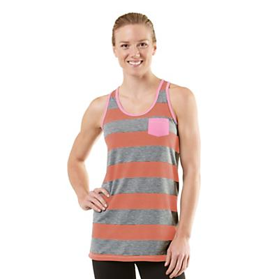 Womens ROAD RUNNER SPORTS Stripe A Pose Tank Technical Tops