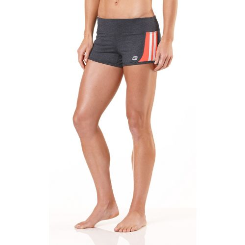 Womens R-Gear Runnin' Hot Fitted Shorts - Heather Charcoal/Just Peachy/White L