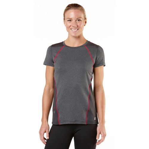 Womens R-Gear Keep Your Cool Short Sleeve Technical Tops - Heather Charcoal/Passion Punch M