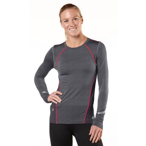 Womens R-Gear Keep Your Cool Long Sleeve No Zip Technical Tops - Heather Charcoal/Passion Punch ...