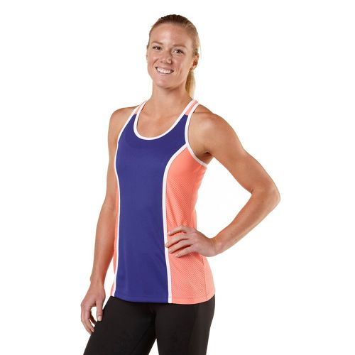 Womens R-Gear Finish Line Fast Singlet Technical Tops - Just Peachy/Bright Iris/White M