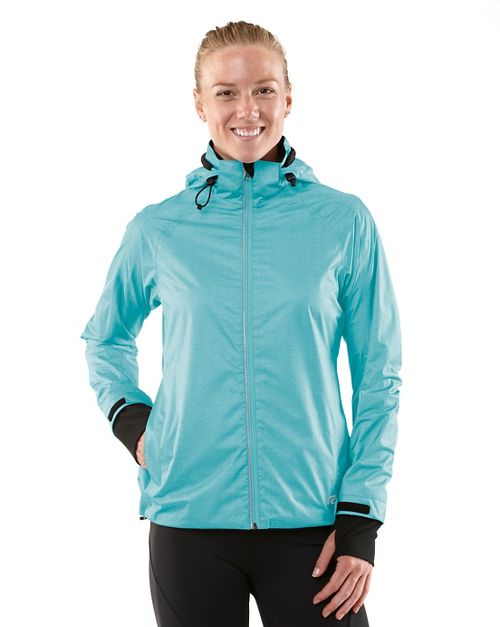 Womens R-Gear Taken By Storm Rain Outerwear Jackets - Heather Sea Breeze XS