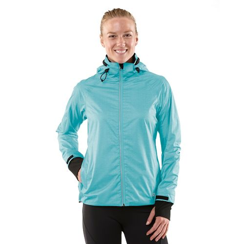 Womens R-Gear Taken By Storm Rain Outerwear Jackets - Heather Sea Breeze L