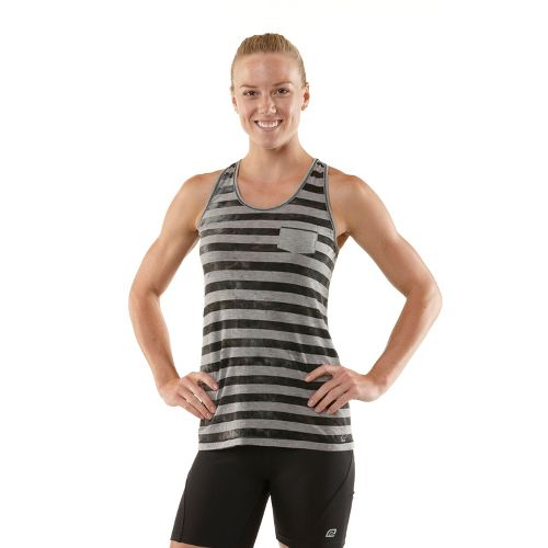 Womens R-Gear Stripe A Pose Tank Technical Tops - Charcoal L