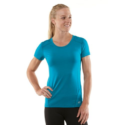 Womens R-Gear Runner's High Short Sleeve Technical Tops - Teal Appeal/Passion Punch L