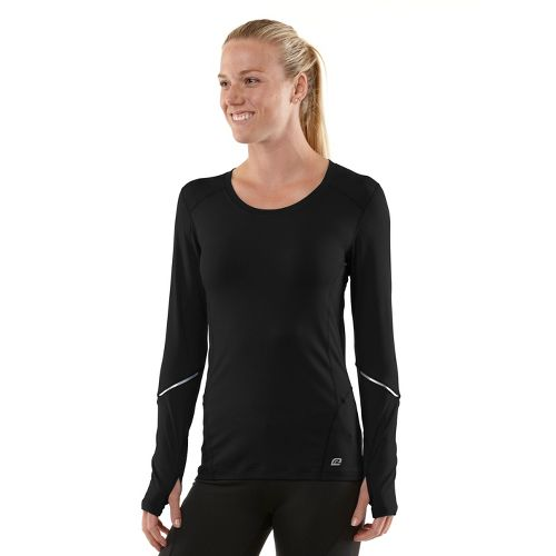 Womens R-Gear Runner's High Long Sleeve No Zip Technical Tops - Black/Passion Punch XL