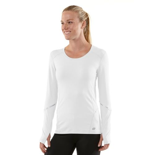 Womens R-Gear Runner's High Long Sleeve No Zip Technical Tops - White/Just Peachy M