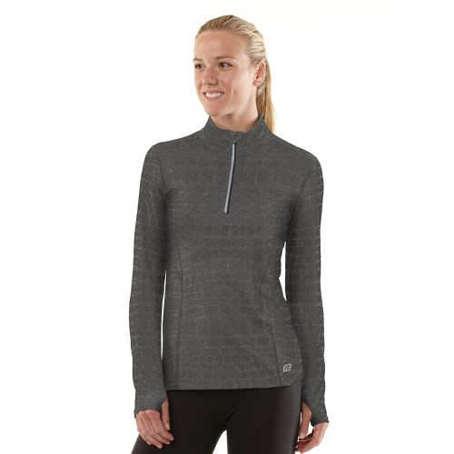 Womens R-Gear On The Run Printed Long Sleeve 1/2 Zip Technical Tops - Heather Charcoal ...
