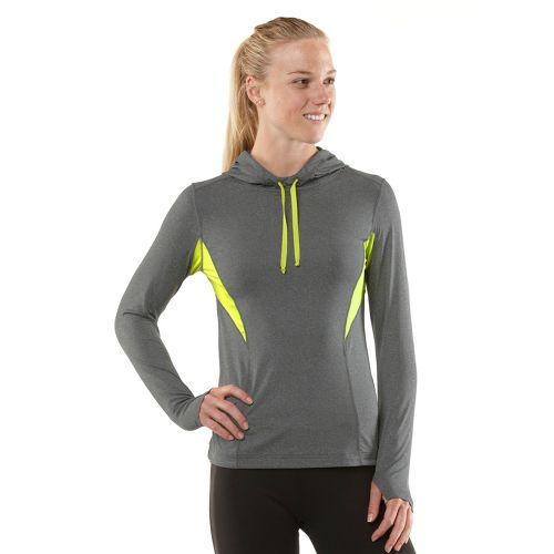 Womens R-Gear On The Run Hoodie Long Sleeve No Zip Technical Tops - Heather Charcoal/Limeade ...