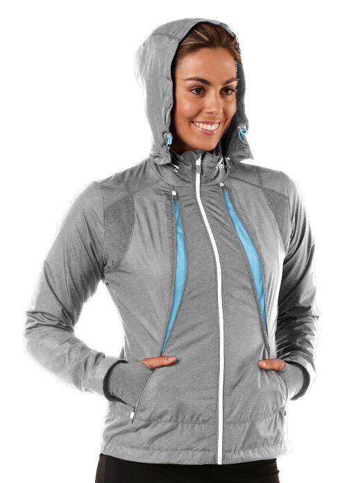 Womens R-Gear Zip To It Running Jackets - Heather Dove Grey/Sea Breeze XS