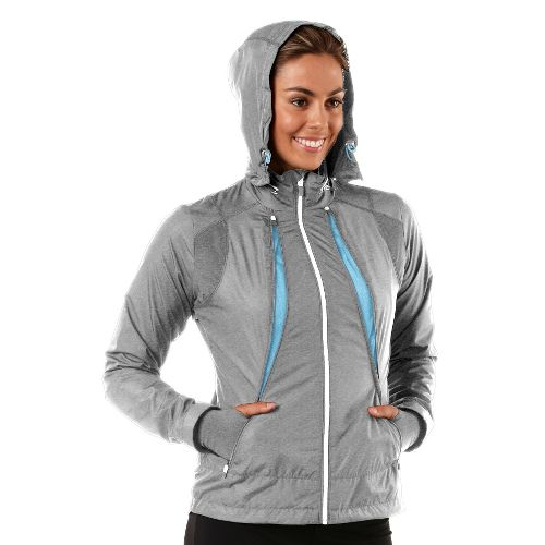 Womens R-Gear Zip To It Running Jackets - Heather Dove Grey/Sea Breeze L