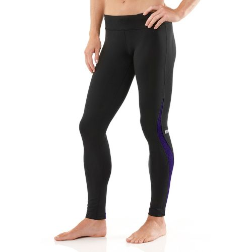 Womens R-Gear Lace Pace Compression Fitted Tights - Black/Plum Pop M